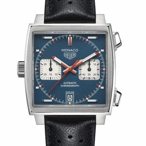 "TAG Heuer Monaco ""Steve McQueen"" Calibre 11 Steel Blue Dial 39mm- front view"
