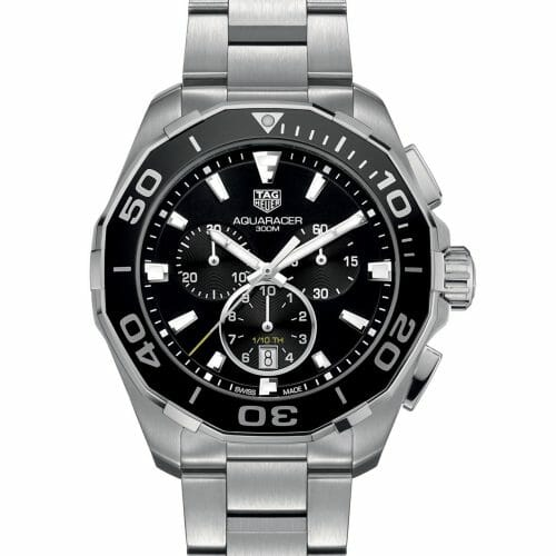 TAG Heuer Aquaracer Chronograph Steel Black Dial 43mm- front view
