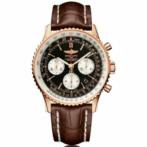 Breitling Navitimer B01 Chronograph 18ct Rose Gold Black Baton Dial 43mm- Front View