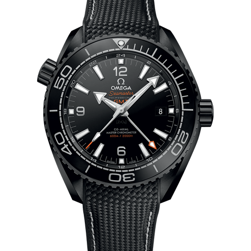 Front View - Omega Seamaster Planet Ocean Co-Axial Master Chronometer GMT 'Deep Black' Ceramic Black Dial 45.5mm