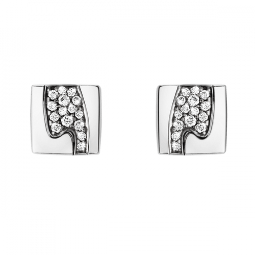 Georg Jensen 18ct White Gold Diamond Pave Fusion Stud Earrings