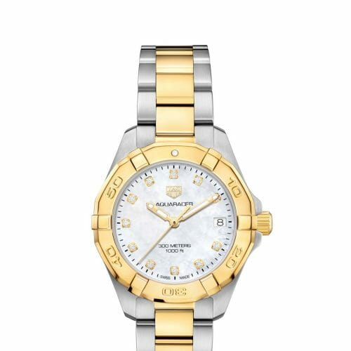 TAG Heuer Aquaracer Steel & Gold Plated Diamond Dot Mother of Pearl Dial 32mm- front