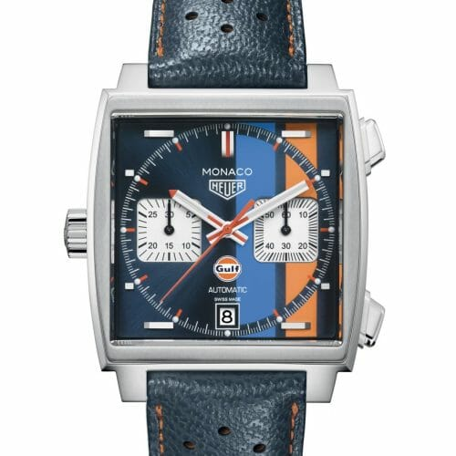TAG Heuer Monaco Gulf Calibre 11 Steel Blue Striped Dial 39mm- Front View