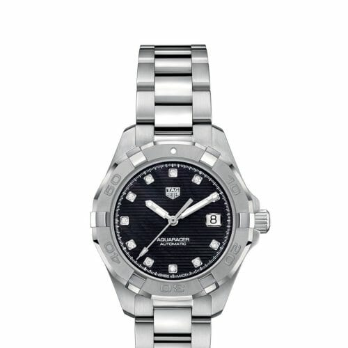 TAG Heuer Aquaracer Automatic Steel Diamond Dot Black Mother of Pearl Dial 32mm- Front