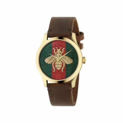 Gucci G-Timeless Gold PVD Coated Embroidered Bee Dial 38mm- front