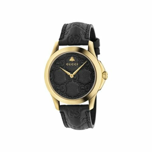 Gucci G-Timeless Signature Gold PVD Coated Black Leather Dial 38mm- front