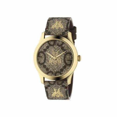 Gucci G-Timeless Gold PVD Coated Brown Bee Dial 38mm- front