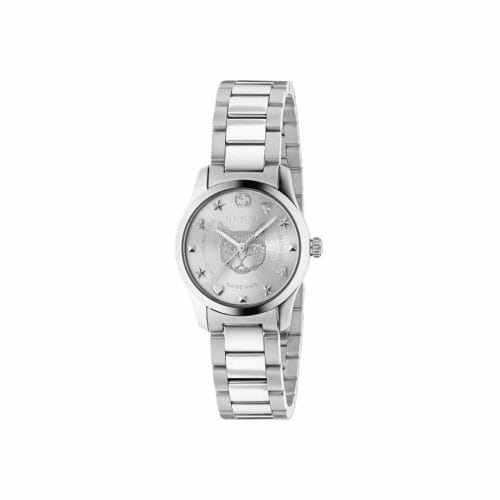 Gucci G-Timeless Stainless Steel Silver Feline Dial 27mm- front