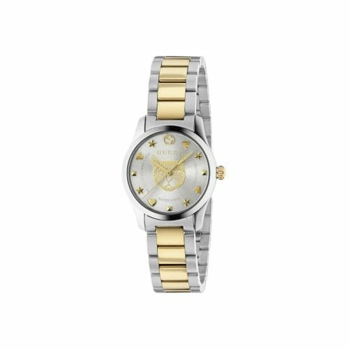 Gucci G-Timeless Stainless Steel & Gold PVD Coated Silver Feline Dial 27mm- front