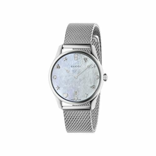 Gucci G-Timeless Stainless Steel Diamond Mother of Pearl Dial 36mm- front