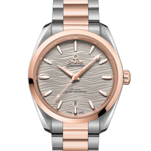 Omega Seamaster Aqua Terra Co-Axial Master Chronometer Steel & 18ct Rose Gold Grey Dial 38mm- front