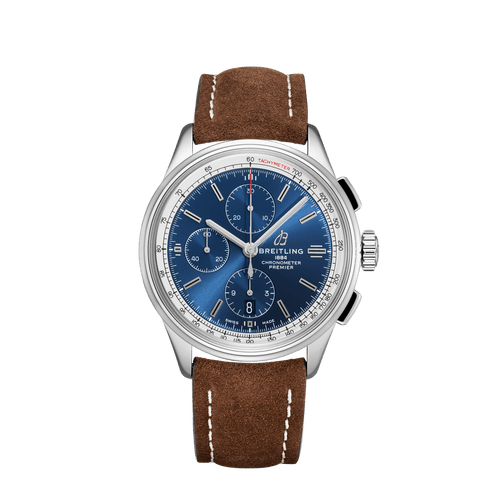 Breitling Premier Chronograph Steel Blue Dial 42mm- Front View