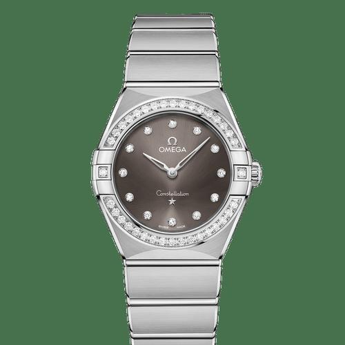 Omega Constellation Manhattan Quartz Diamond Bezel Diamond Dot Grey Dial 28mm- front