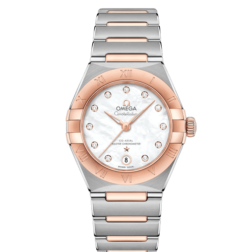 Omega Constellation Manhattan Co-Axial Master Chronometer Steel & 18ct Rose Gold Diamond Dot Mother of Pearl Dial 29mm- front