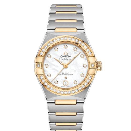 Omega Constellation Manhattan Co-Axial Master Chronometer Steel & 18ct Gold Diamond Bezel Diamond Dot Mother of Pearl Dial 29mm- front view