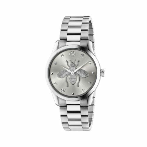 Gucci G-Timeless Stainless Steel Silver Bee Dial 38mm- front