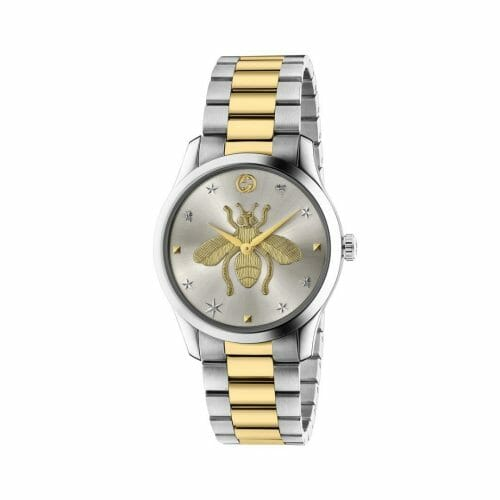 Gucci G-Timeless Stainless Steel & Gold PVD Coated Silver Bee Dial 38mm- front