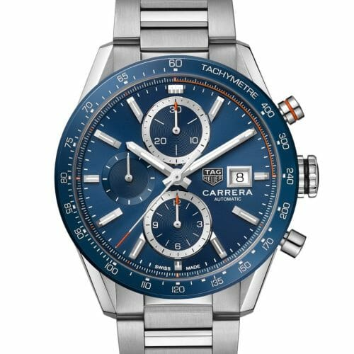 TAG Heuer Carrera Calibre 16 Chronograph Steel Blue Dial 41mm- Front