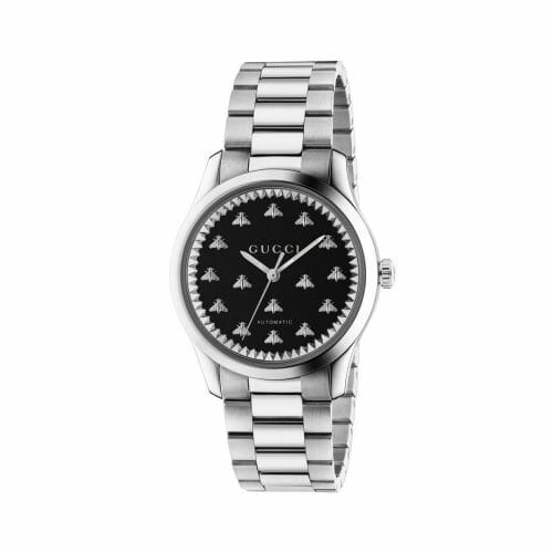 Gucci G-Timeless Automatic Stainless Steel Black Onyx Bee Dial 38mm- front