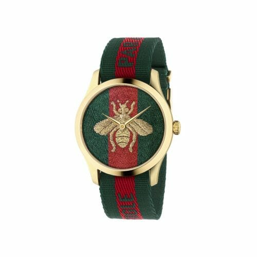 Gucci Le Marche Des Merveilles G-Timeless Gold PVD Coated Embroidered Bee Dial 38mm- front