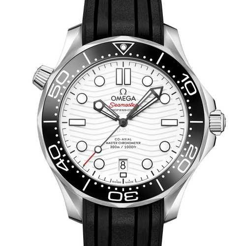 Omega Seamaster Diver 300M Co‑Axial Master Chronometer White Dial & Black Rubber Strap 42 mm- front
