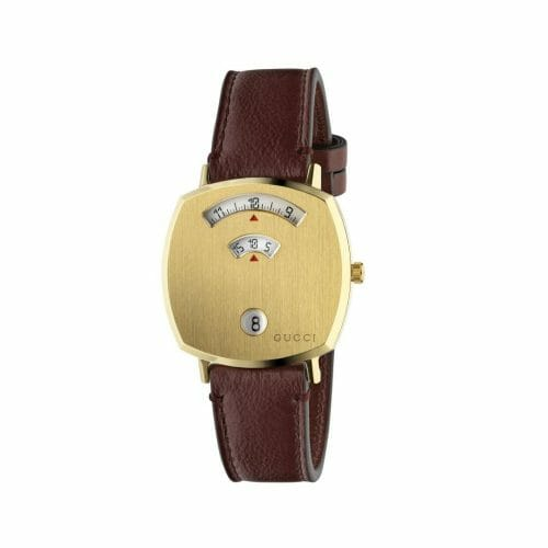 Gucci Grip Gold PVD Coated Brushed Case & Bordeaux Leather Strap 35mm- front