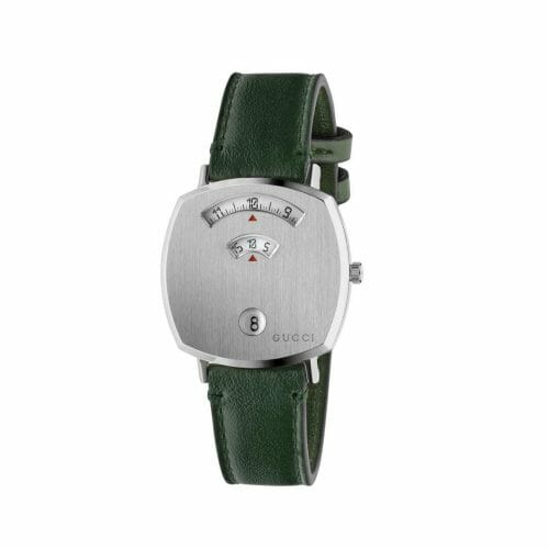 Gucci Grip Stainless Steel Brushed Case & Green Leather Strap 35mm- front