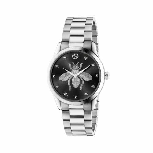 Gucci G-Timeless Stainless Steel Black Bee Dial 38mm- front