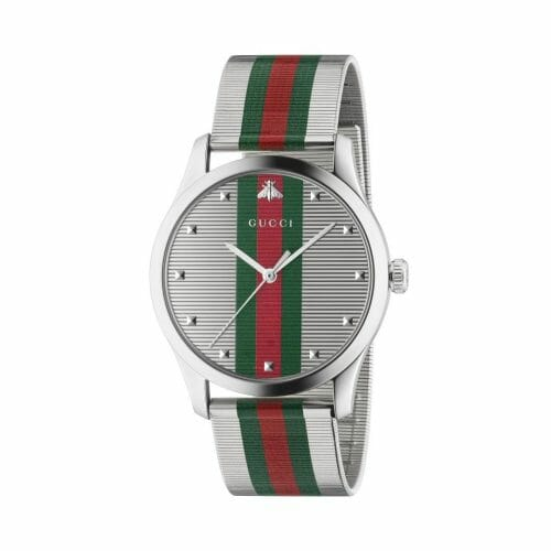 Gucci G-Timeless Stainless Steel Green & Red Striped Dial 42mm- front