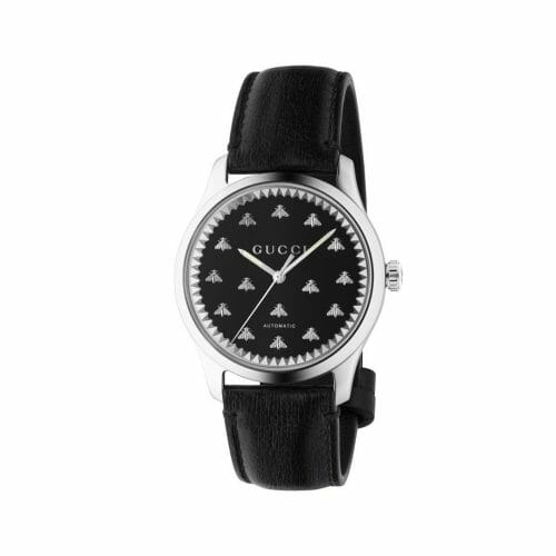 Gucci G-Timeless Automatic Stainless Steel Black Onyx Bee Dial 42mm- front