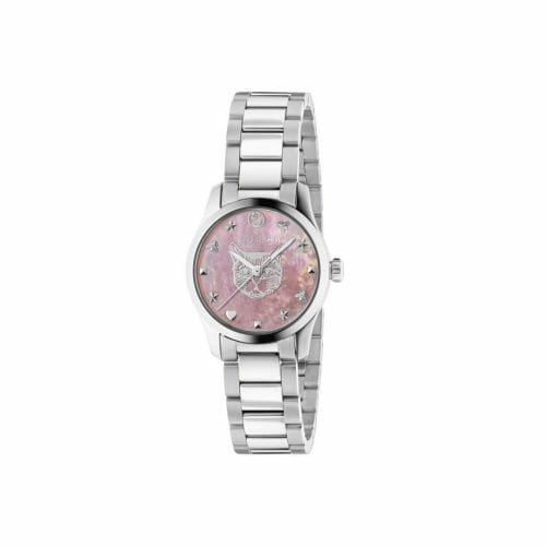 Gucci G-Timeless Stainless Steel Pink Mother of Pearl Feline Dial 27mm- front