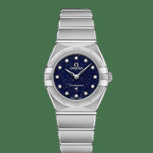 Omega Constellation Manhattan Quartz Diamond Dot Blue Aventurine Dial 25mm- front