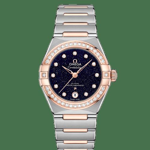 Omega Constellation Manhattan Co-Axial Master Chronometer Steel & 18ct Rose Gold Diamond Bezel Diamond Dot Blue Aventurine Dial 29mm- front