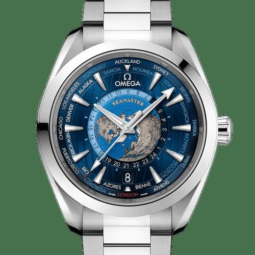 Omega Seamaster Aqua Terra Co‑Axial Master Chronometer GMT Worldtimer 43 mm - front detail