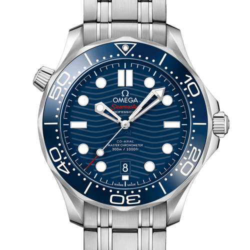 Omega Seamaster Diver 300M Co-Axial Master Chronometer Blue Dial 42mm- front view