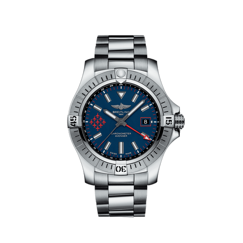 Breitling Avenger Automatic GMT Red Arrows Limited Edition Steel Blue Dial 45mm- Front View
