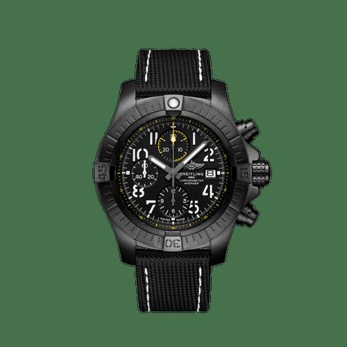 Breitling Avenger Chronograph Night Mission Black Titanium Black Dial 45mm- Front View