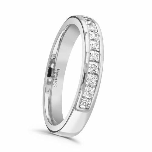 Princess Cut Diamond Channel Set Half Eternity Ring 0.50ct