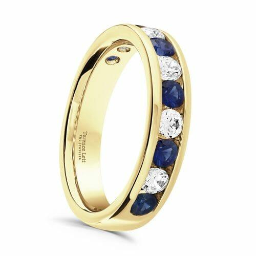 Round Brilliant Sapphire & Diamond Channel Set Half Eternity Ring 1ct
