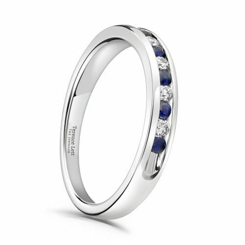 Round Brilliant Sapphire & Diamond Channel Set Half Eternity Ring 0.20ct