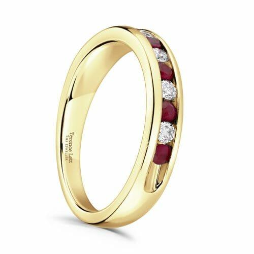 Round Brilliant Ruby & Diamond Channel Set Half Eternity Ring