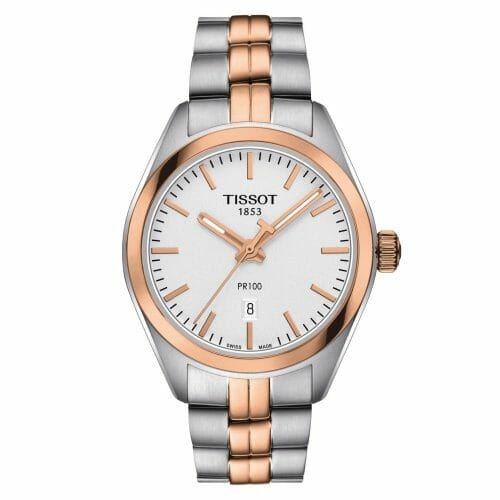 Tissot PR100 Lady Steel & Rose Gold PVD Coated Silver Dial 33mm