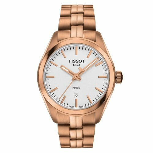 Tissot PR100 Lady Rose Gold PVD Coated Silver Dial 33mm- Front View