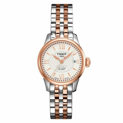 Tissot Le Locle Automatic Small Steel & Rose Gold PVD Coated Silver Dial 25.3mm- Front View