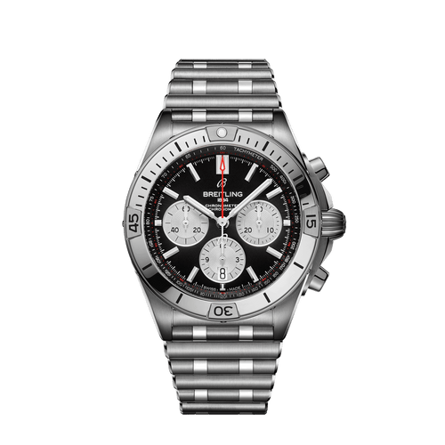 Breitling Chronomat B01 Chronograph Steel Black Dial 42mm- Front View