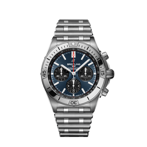 Breitling Chronomat B01 Chronograph Steel Blue Dial 42mm- Front View