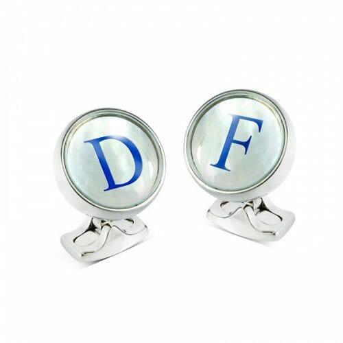 Deakin & Francis Steel Mother of Pearl Self Levelling Initial Cufflinks