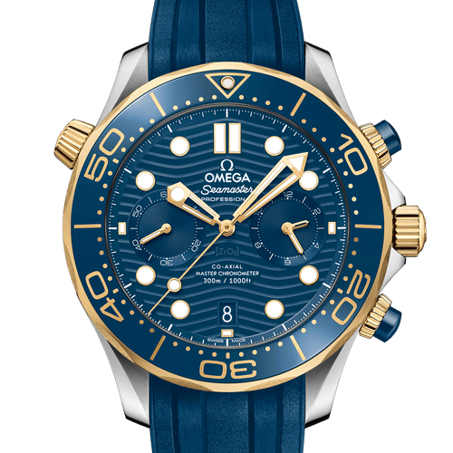Omega Seamaster Diver 300M Co‑Axial Master Chronometer Chronograph Steel & 18ct Yellow Gold Blue Dial & Rubber Strap 44mm- Front View