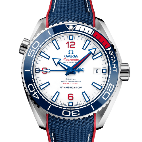 Omega Seamaster Planet Ocean Co-Axial Master Chronometer America's Cup Limited Edition White Dial 43.5mm- front view