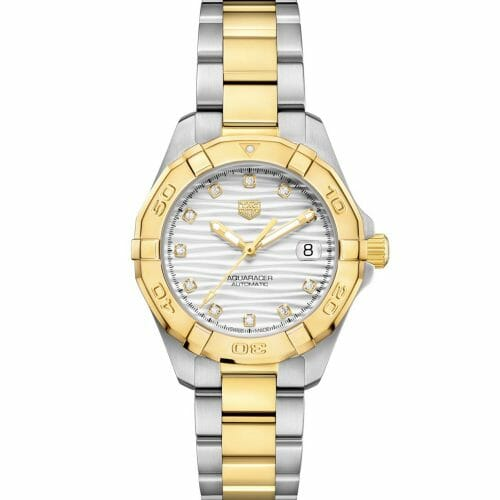 TAG Heuer Aquaracer Automatic Steel & Gold Plated Diamond Dot Silver Wave Dial 32mm- Front